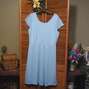 Retro style blue lace overlay dress (M)